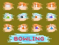 Vector bowling emblem design template badge item design for sport league teams success equipment champion illustration. Stock Image