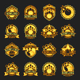 Vector bowling emblem and yellow design element logotype template badge item design for sport league teams success Royalty Free Stock Image