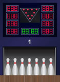 Vector bowling pins on bowling alley. Vector set of bowling pins on bowling alley. Eps format 10 is available Stock Photography