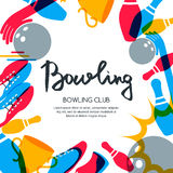 Vector bowling square banner, poster or flyer design template. Frame background with bowling ball, pins, shoes and hand drawn calligraphy lettering. Abstract Stock Images