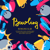 Vector bowling square banner, poster or flyer design template. Stock Images