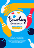 Vector bowling tournament banner, poster or flyer design template. Stock Images