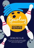 Vector bowling tournament banner, poster or flyer design template. Stock Image