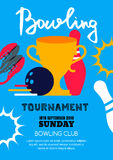 Vector bowling tournament banner, poster, flyer design template. Royalty Free Stock Photography