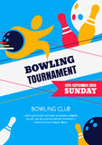 Vector bowling tournament banner, poster or flyer design template. Stock Photo