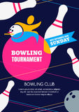 Vector bowling tournament banner, poster or flyer design template. Royalty Free Stock Image
