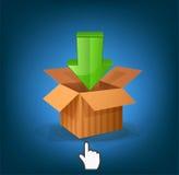 Vector box with arrow and cursor Stock Photography