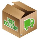 Vector box with free shipping icon Royalty Free Stock Photography