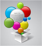 Vector box full of colorful bubbles Stock Photos