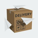 Vector box and paper planes Royalty Free Stock Image