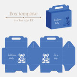 Vector box template. Baby bear. It's a boy. Stock Images