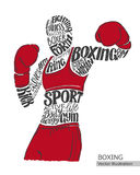 Vector boxer. Silhouette of the athlete from the thematic words. Royalty Free Stock Photos