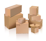 Vector boxes. Vector illustration of shipping boxes Stock Photography