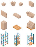Vector boxes and shelving. Set of detailed isometric warehouse related icons Stock Photography