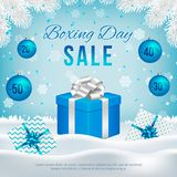 Vector Boxing Day sale banner with gift boxes. stock illustration