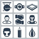 Vector boxing icons set Stock Image
