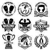 Vector Boxing labels set with - boxer, helmet, gladiator, goblet, laurel, ring, gloves. Vector Boxing labels set with - boxer, helmet, gladiator, goblet, laurel royalty free illustration