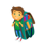 Vector boy with big school bag stands smiling. Vector cartoon small boy, schoolboy wearing big huge schoolbag full of books smiles. Isolated flat illustration on Stock Images