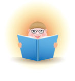 VECTOR Boy with a book. Boy with glasses reading a book Stock Images