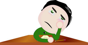 Vector boy character bored at school. Illustration symbolizing activity at school Stock Images