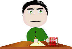 Vector boy character doing abacus at school. Illustration symbolizing activity at school Royalty Free Stock Image