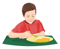 Vector of boy eating noodles. Royalty Free Stock Photography