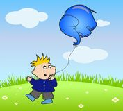 Vector boy and elephant Stock Images