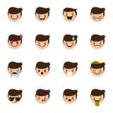 Vector boy emoticons collection. Cute kid emoji set vector illustration