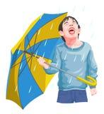 Vector of boy enjoying rainfall. Stock Photo