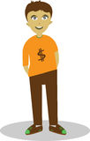 VECTOR BOY FREELANCE CHARACTER. A man whose modest success in becoming freelance work Royalty Free Stock Images