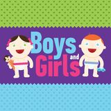 Vector Boy and girl smiling with toys Stock Image