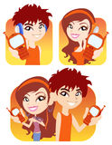Vector boy and girl with their phone Royalty Free Stock Photography
