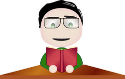 Vector boy with glasses reading at school. Illustration symbolizing activity at school Royalty Free Stock Image