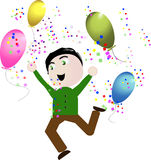 Vector boy happy celebration balloons Royalty Free Stock Photo