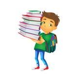 Vector boy holding big pile of school books Stock Image