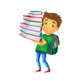 Vector boy holding big pile of school books Royalty Free Stock Photography