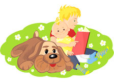 Vector Boy is reading a book to his brother. Two boys and a dog sitting on a green lawn with white flowers and read a book Royalty Free Stock Photography