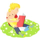 vector Boy is reading a book to his younger brothe Royalty Free Stock Image