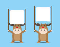 Vector Boy in Reindeer costume holding Blank Banner or Sign Stock Photos