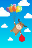 Vector Boy in Reindeer costume holding Colorful Balloon in Day Blue Sky Royalty Free Stock Photos