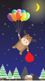 Vector Boy in Reindeer costume holding Colorful Balloon in Night Sky Royalty Free Stock Images