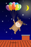 Vector Boy in Reindeer costume holding Colorful Balloon over Roof Royalty Free Stock Image