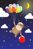 Vector Boy in Reindeer costume holding Colorful Balloon in Snow Night Sky Stock Photos
