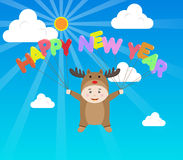 Vector Boy in Reindeer costume holding Happy New Year Balloon in Stock Photography