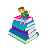 Vector boy sitting at big pile of school books. Vector cartoon small boy, schoolboy wearing schoolbag says hello sitting at big pile of school books. Flat Stock Images