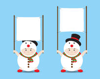 Vector Boy in Snowman costume holding Blank Banner or Sign Stock Photography