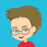 Vector boy wearign glasses Royalty Free Stock Images