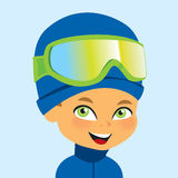 Vector boy wearign ski gear Stock Photo