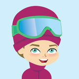 Vector boy wearign ski gear Stock Image