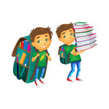 Vector boys with big school bags set. Vector cartoon small schoolboy wearing big huge schoolbag full of books smiles, another boy keeping big books pile Stock Photos